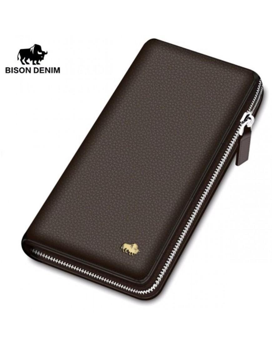 77f49cbe Leather Wallet Clutch Bag Card Holder Purse Zipper -brown