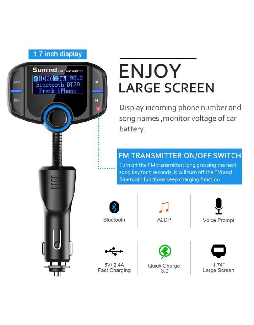 Bluetooth FM Transmitter, Wireless Radio Adapter Hands-free Car