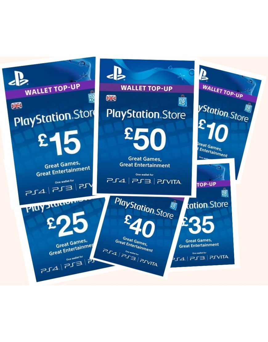Playstation Game Cards £10 - £50- UK